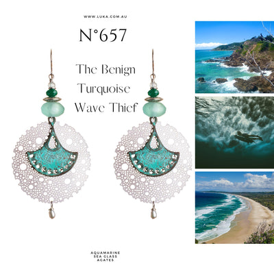 N°657 The Benign Turquoise Wave Thief Statement Earrings