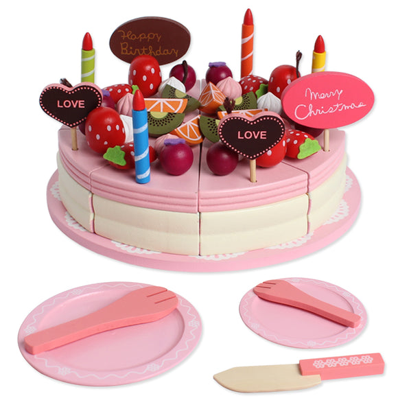 Wooden Pretend Play Birthday Cake Set Kitchen Food Toys For Toddlers Preschoolers Girls Kids
