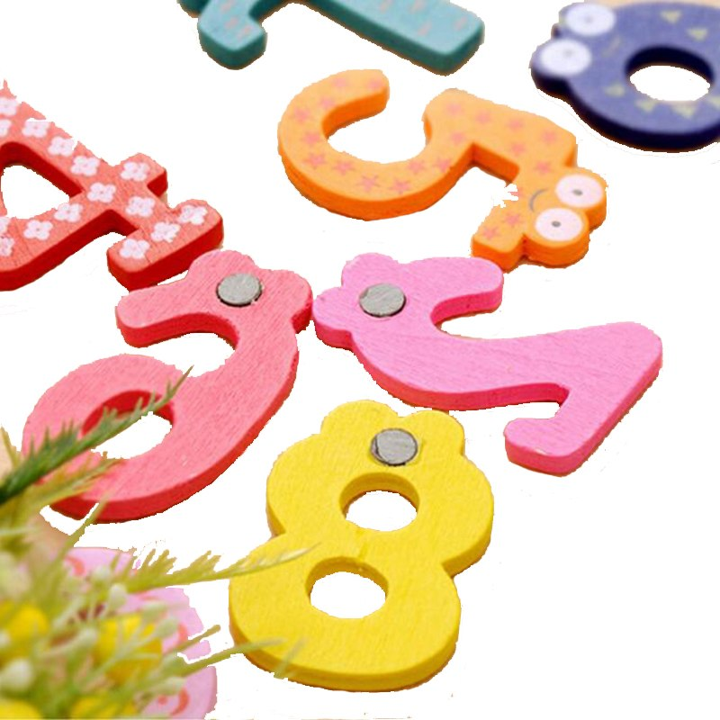 Wooden Numbers Letters Fridge Magnets Learning Educational Toys For