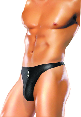Male Power Zipper Thong Blk