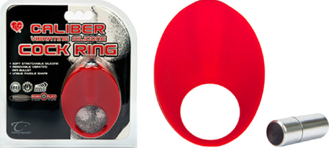 Caliber Vibrating Silicone Cock Ring (Red) Sex Toy Adult Pleasure