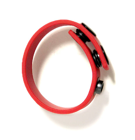 Boneyard Silicone Cock Strap - 3 Snap Ring - Red