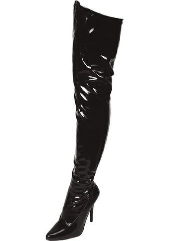 Black Pointed Toe Thigh High Boot 5in Heel Size 8
