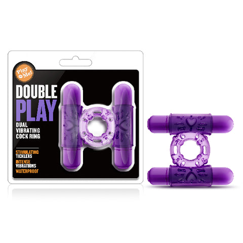 Play With Me Double Play Dual Vibrating Cock Ring Purple
