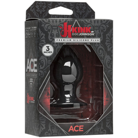 "Ace - Silicone Butt Plug Anal Dildo Sex Toy Adult Pleasure- 3"" (Black)"