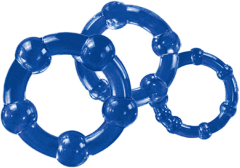 Stay Hard Beaded Cock & ball Rings Extra Pleasure Lasting Power Blue