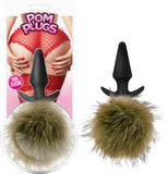 Pom Plugs - Fur Pom Pom Sex Toy Butt Plug Adult Pleasure Fun Fur (Brown)