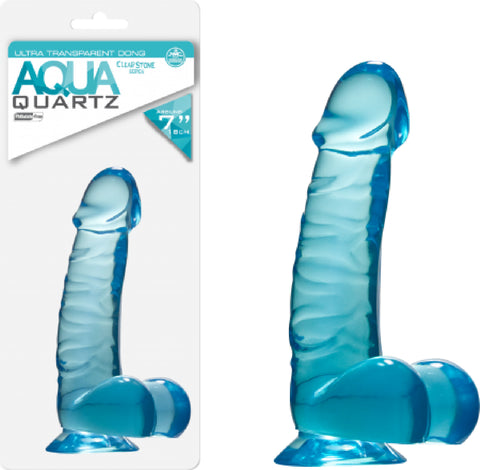 "Quartz 7"" Ballsy Dong - Aqua (Blue) Dildo Sex Adult Pleasure Orgasm"