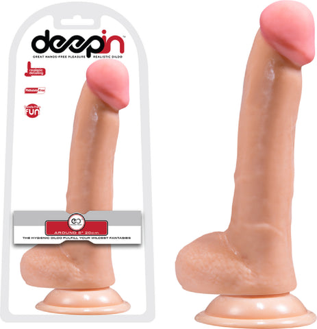 "8"" Realistic Dong With Balls (Flesh)"