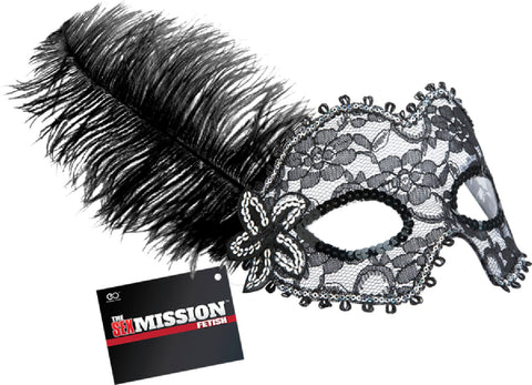 Feathered Masquerade Masks (Black) Sex Toy Adult Pleasure