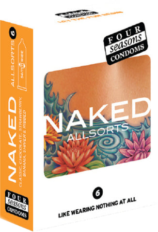 Naked Allsorts 6's Pleasure Adult Condom Safe Sex
