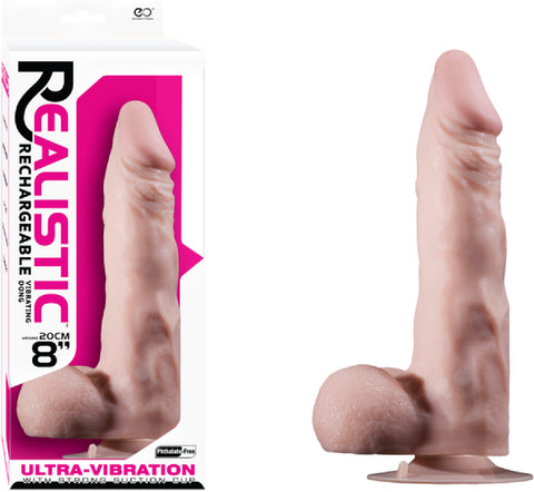 "8"" Vibrating Dong with Balls (Flesh) Sex Toy Adult Pleasure"
