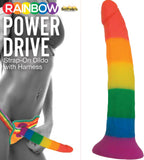 Rainbow Power Drive Strap-On Dildo Sex Adult Pleasure Orgasm