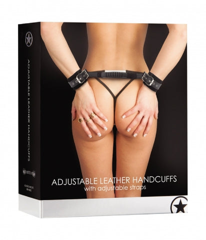 Adjustable Leather Handcuffs (Black)