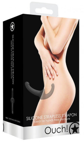 Silicone Strapless Strap-On (Black)