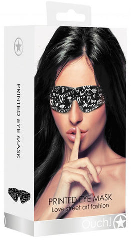 Printed Eye Mask - Love Street Art Fashion (Black)
