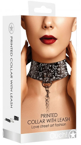 Collar With Leash - Love Street Art Fashion (Black)