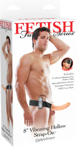 "8"" Vibrating Hollow Strap-On (Flesh)"