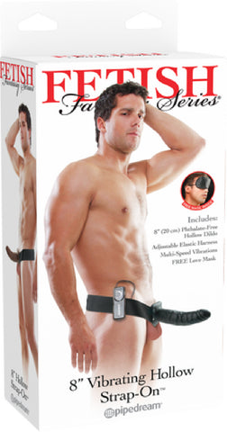 "8"" Vibrating Hollow Strap-On (Black)"