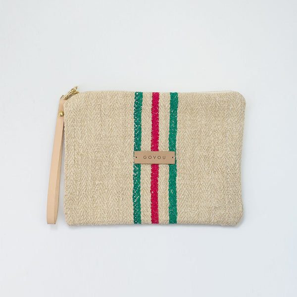 Red & Green  tick stripe Clutch