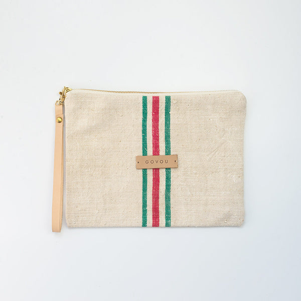 Red & Green small stripe Clutch