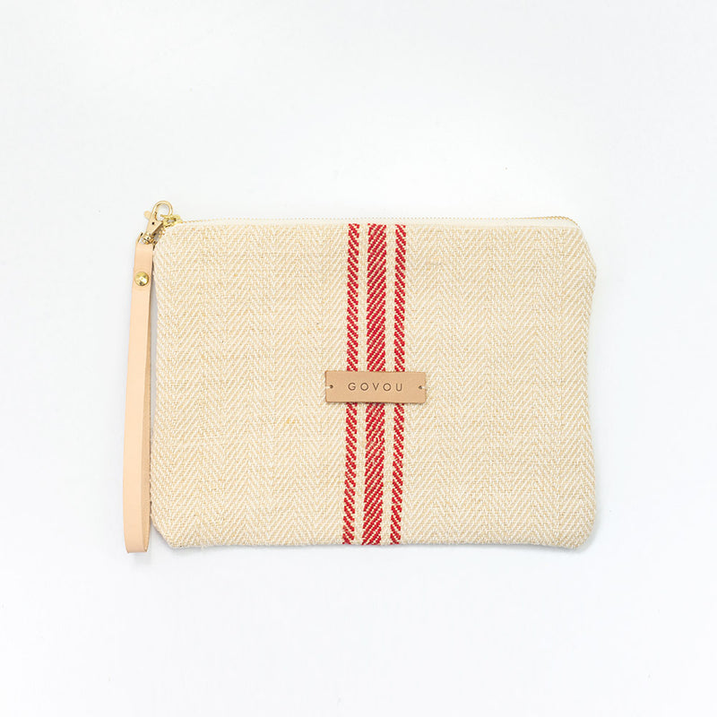 Red tiny stripe Clutch