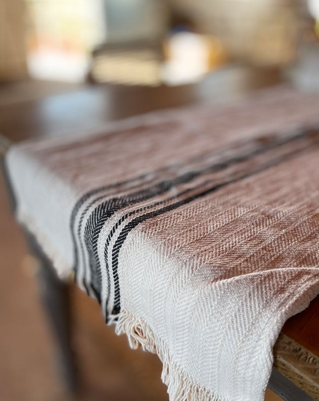 Black  Hemp & Linen Table Runner