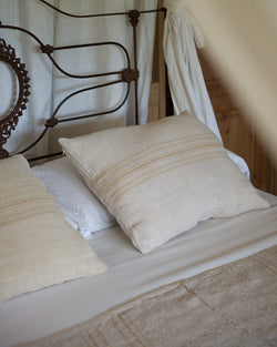 White & Brown Linen Pillow