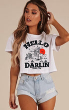 Hello Darlin cropped raw edge Sleeve and bottom cotton Tee