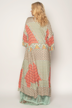 Boho duster with unique print featuring balloon sleeves Kimono