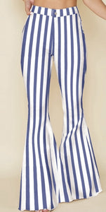 high waisted stretch denim blue & white striped bell bottoms