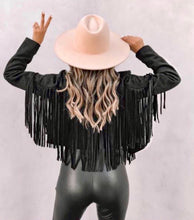 Vegan suede black fringe jacket