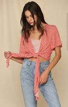 Red and white front tie boho top