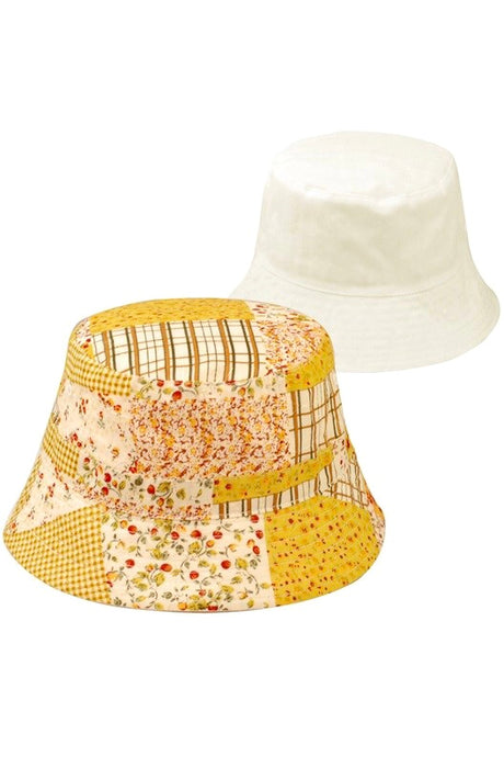 Reversible floral bucket hat Boho yellow
