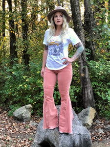 Rose Colored Stretchy corduroy bell bottoms pants with distressed hem