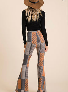 The ultimate boho bells! Patchwork printed knit high waisted bottom pant