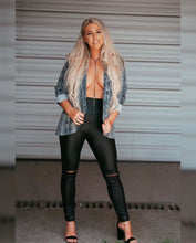 faux leather leggings with cut out knees