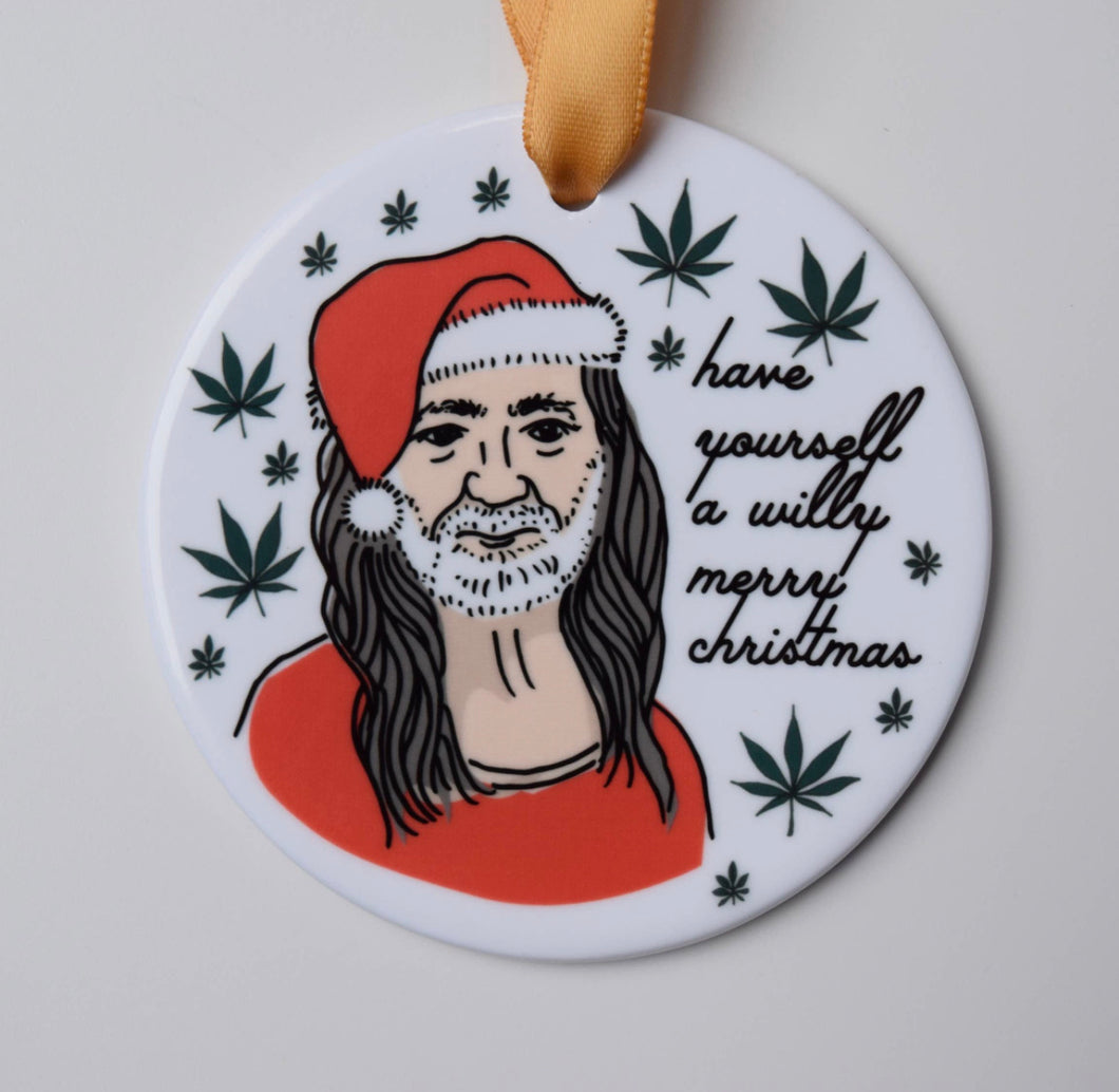 Willy Nelson Holiday Ornament