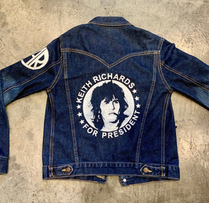Keith Richards hand painted vintage denim jacket
