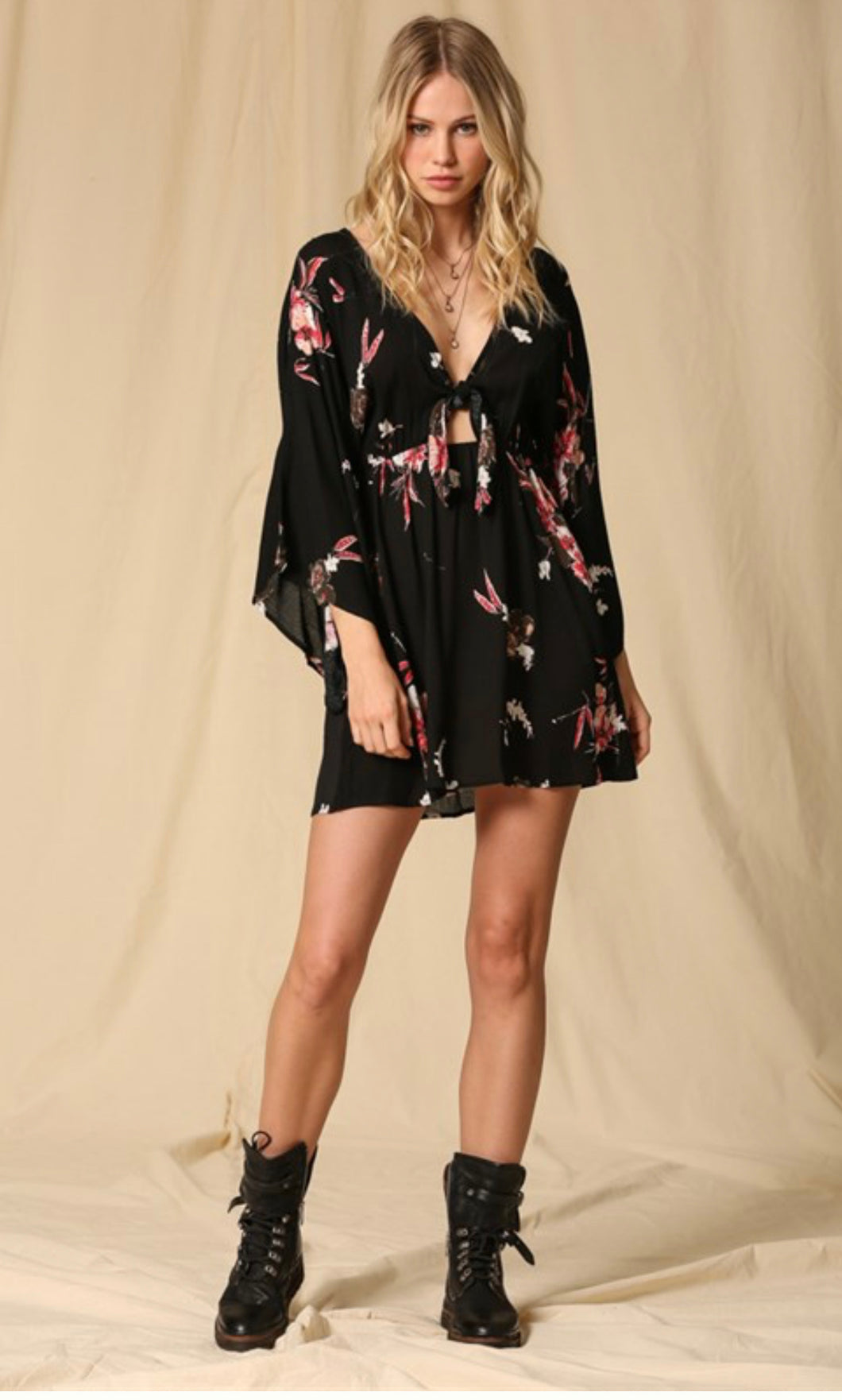 Flirty front tie kimono style sleeves floral print dress with cut out and elastic waist and pockets
