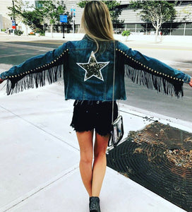 Custom fringe denim jacket