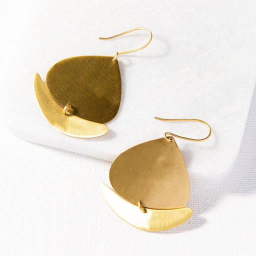 Matte Brass Boat Dangle Earring