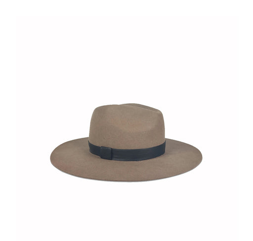 Ava Taupe w/Black Leather Band Hat
