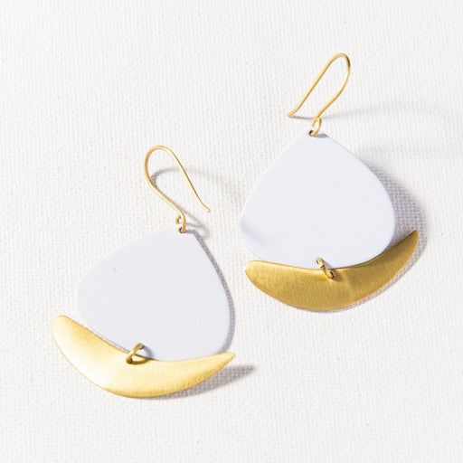 White & Matte Brass Boat Dangle Earring