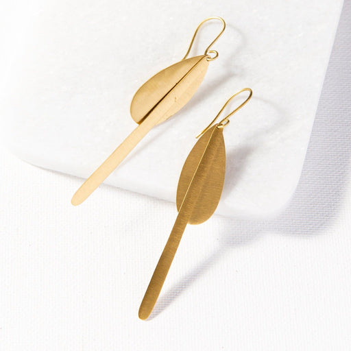 Matte Brass Drop Dangle Earring