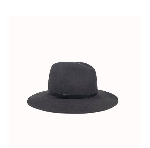 Madison Charcoal  w/Black Leather Band Hat