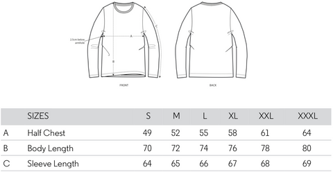 mens long sleeved tshirt size guide