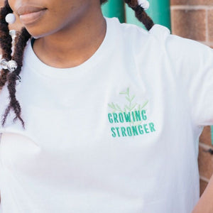 Growing Stronger Embroidered T-Shirt