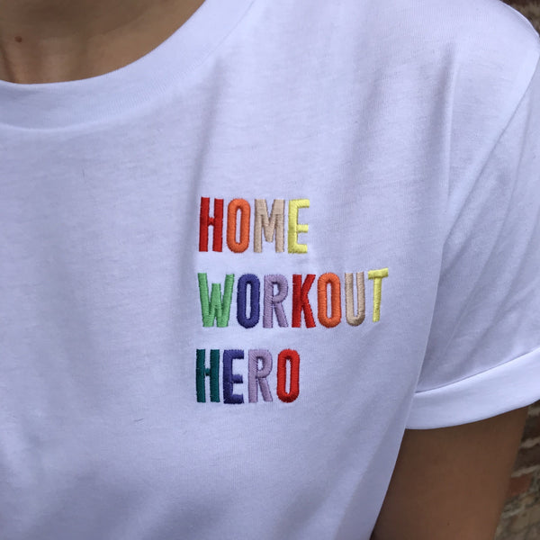 Home Workout Hero Embroidered T-Shirt - Women's Boyfriend Fit