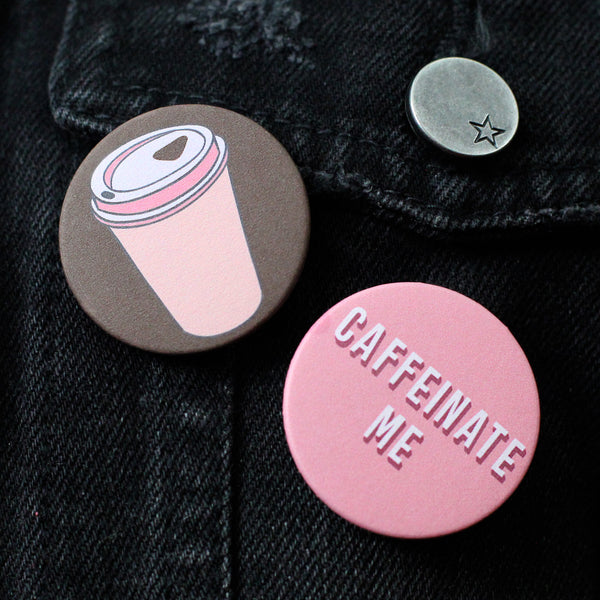 Set of 2 Coffee Themed Badges